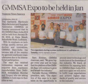 The Tribune Pg 4 July 18 GMMSA EXPO INDIA 2019 dates announced LDH